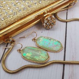 Faceted gold drop Elle earrings faux abalone